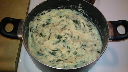 Made with russet potatoes, kale, minced garlic cloves, butter, onion ...